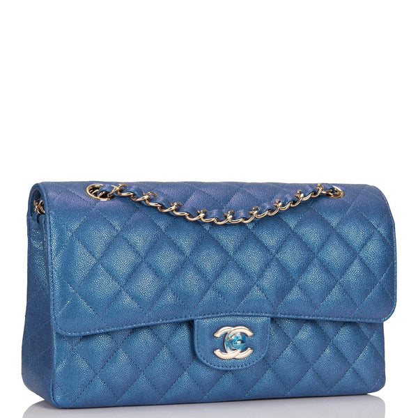 2d9976dd1a87 ... Chanel Iridescent Blue Quilted Caviar Medium Classic Double Flap Bag ...