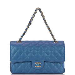 Chanel Iridescent Blue Quilted Caviar Medium Classic Double Flap Bag