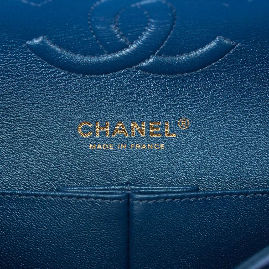 Chanel Iridescent Blue Quilted Caviar Medium Classic Double Flap Bag Light Gold Hardware