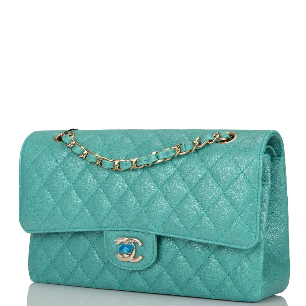 Chanel Iridescent Turquoise Quilted Caviar Medium Classic Double Flap Bag Light Gold Hardware