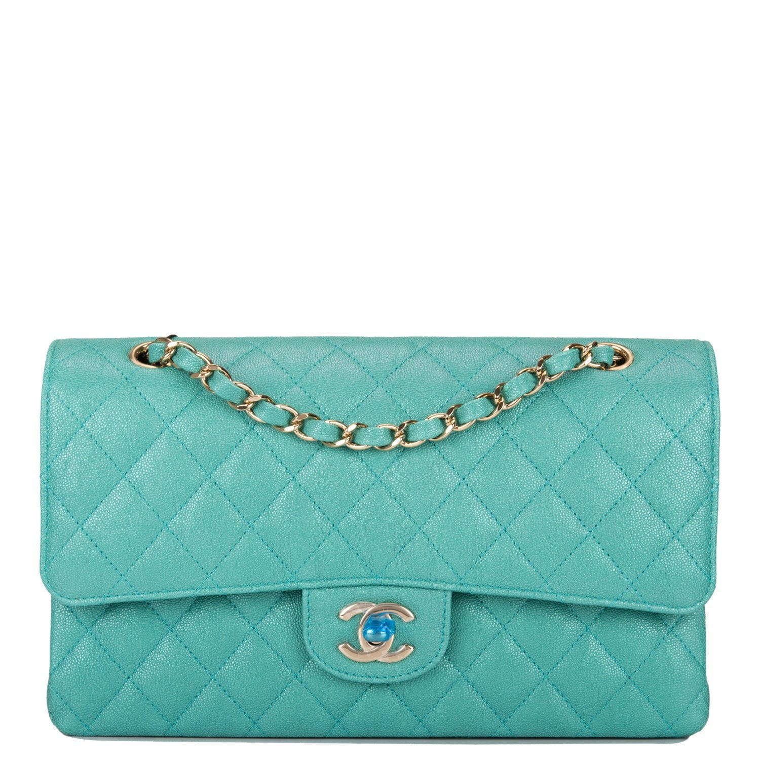 d532ce4c34f3 Chanel Iridescent Turquoise Quilted Caviar Medium Classic Double Flap –  Madison Avenue Couture