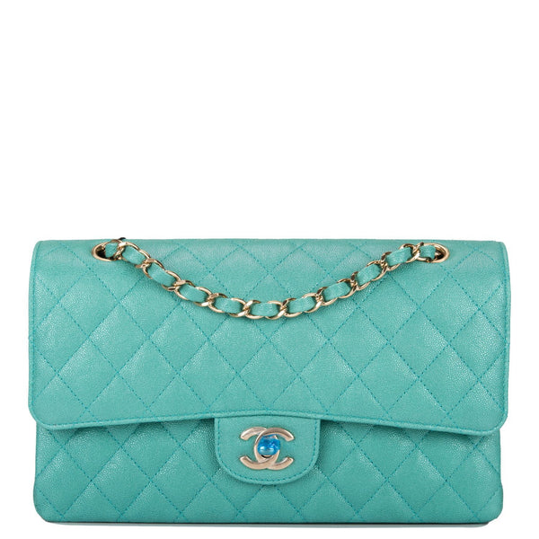 01f49c32608b Chanel Iridescent Turquoise Quilted Caviar Medium Classic Double Flap Bag  ...