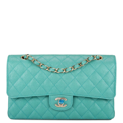 fe03011d7ca7e5 Chanel Iridescent Turquoise Quilted Caviar Medium Classic Double Flap Bag