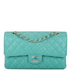 Chanel Iridescent Turquoise Quilted Caviar Medium Classic Double Flap Bag