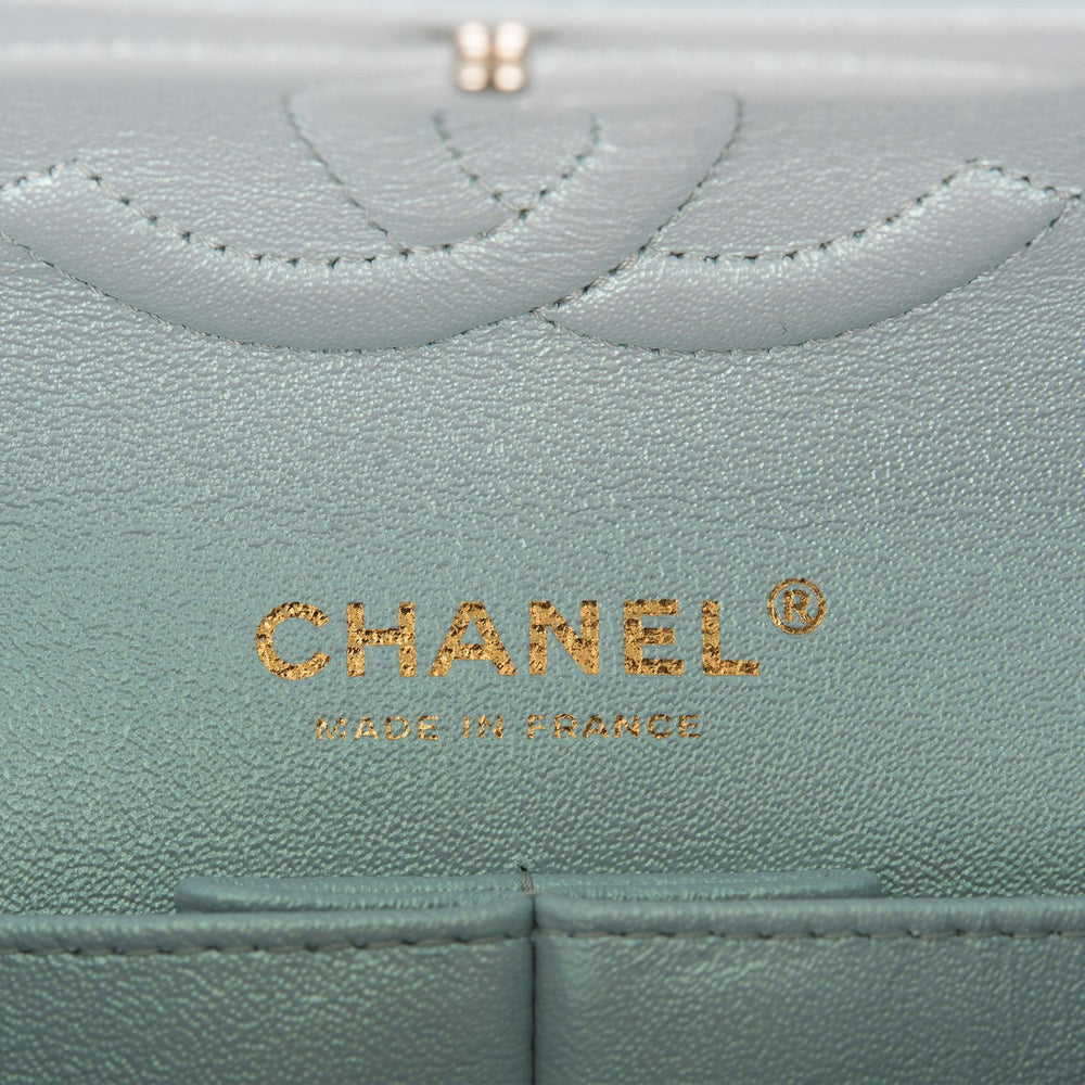 Chanel Iridescent Light Blue Quilted Lambskin Medium Classic Double Flap Bag