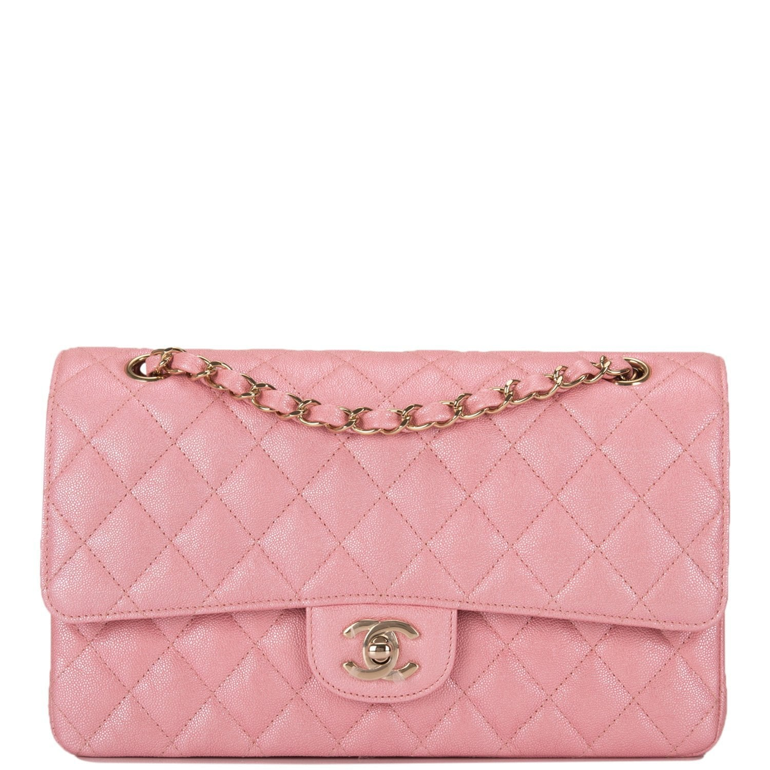 b5e46924 Chanel Iridescent Pink Quilted Caviar Medium Classic Double Flap Bag