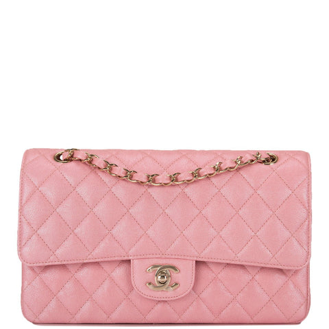 Chanel Iridescent Pink Quilted Caviar Medium Classic Double Flap Bag