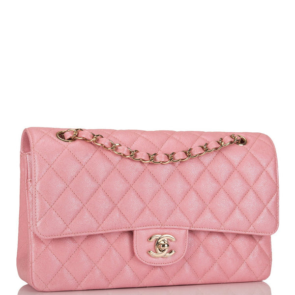 2a1a938c152df6 Chanel Iridescent Pink Quilted Caviar Medium Classic Double Flap Bag ...