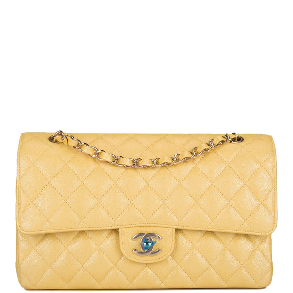 Chanel Iridescent Yellow Quilted Caviar Medium Classic Double Flap Bag