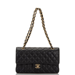 Chanel Black Quilted Caviar Medium Classic Double Flap Bag