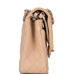 Chanel Light Beige Quilted Caviar Medium Classic Double Flap Bag