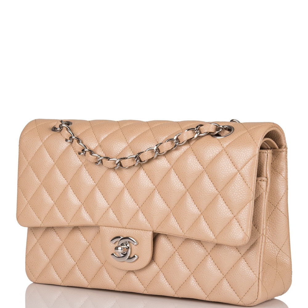Chanel Light Beige Quilted Caviar Medium Classic Double Flap Bag Silver Hardware