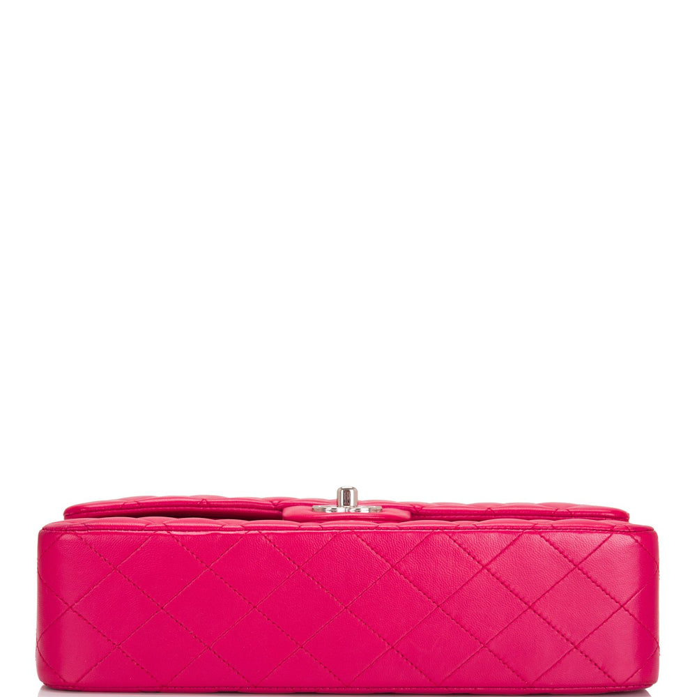 Chanel Fuchsia Quilted Lambskin Medium Classic Double Flap Bag (Preloved - Mint)