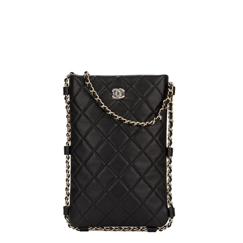 7029d66b6 Chanel Black Lambskin Quilted Clutch with Chain