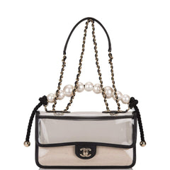 "Chanel Transparent ""Sand By The Sea"" Pearl Flap Bag Light Gold Hardware"