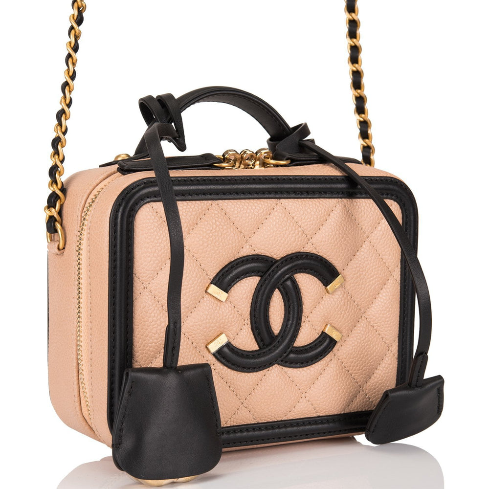 Chanel Light Beige and Black Caviar Mini Filigree Vanity Case
