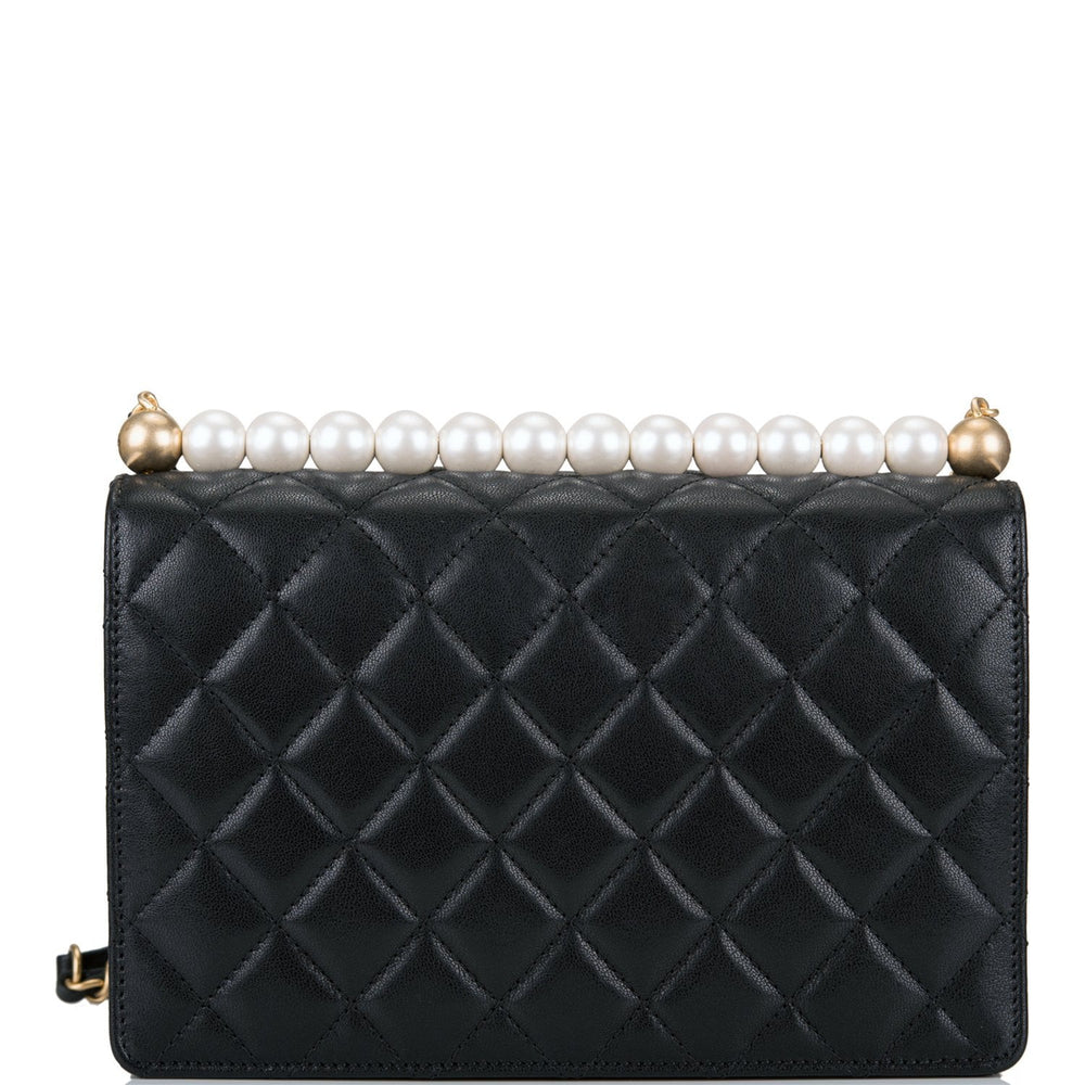 Chanel Imitation Pearl Black Lambskin Flap Bag