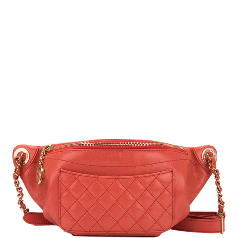 0a7a7b99976c Chanel Coral Pink Lambskin Double Purpose Fanny Pack and Shoulder Bag
