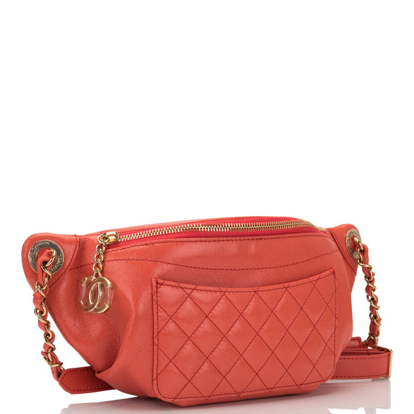 f31c0614aa5b Chanel Coral Pink Lambskin Double Purpose Fanny Pack and Shoulder Bag