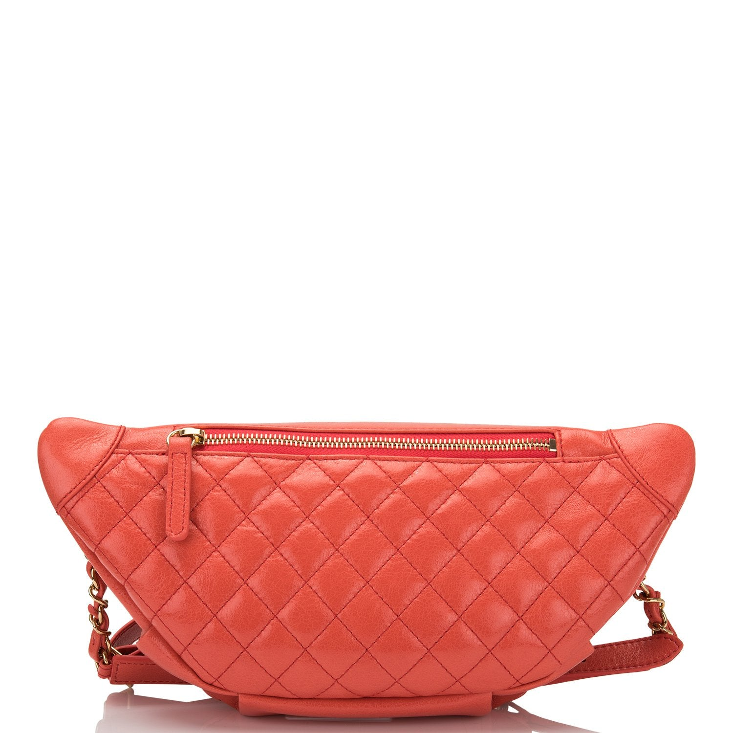 Chanel Coral Pink Lambskin Double Purpose Fanny Pack and Shoulder Bag