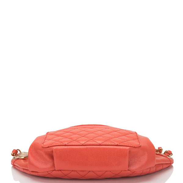 0ffca334c4e6 ... Chanel Coral Pink Lambskin Double Purpose Fanny Pack and Shoulder Bag  ...