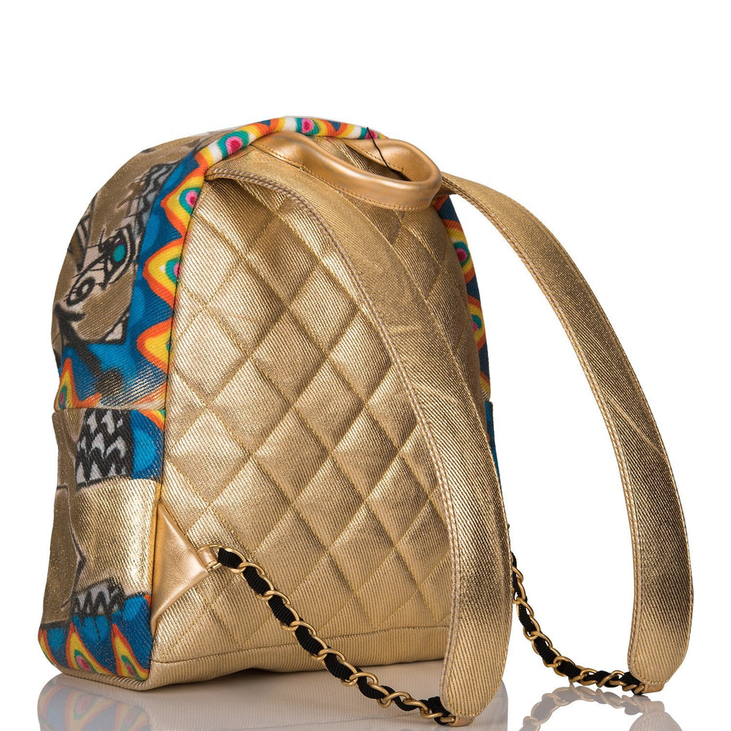 "Chanel Gold Graffiti Printed ""Street Spirit"" Canvas Backpack Gold Hardware"