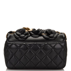 Chanel Black And Gold Camellia Lambskin Mini Classic Flap Bag