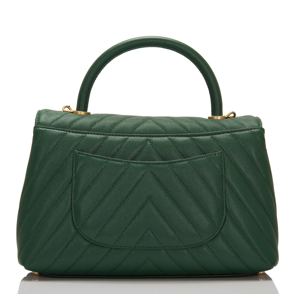 Chanel Dark Green Caviar Small Coco Handle Flap bag