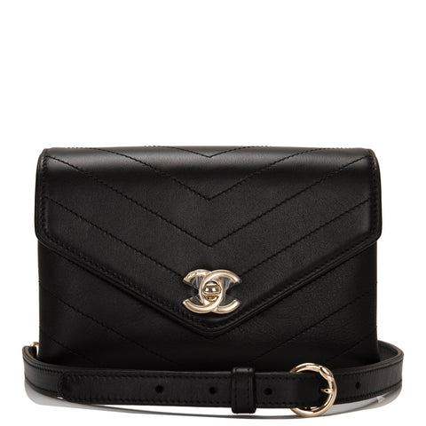 Chanel Coco Chevron Black Calfskin Double-Wrap Waist Bag (Fanny Pack)