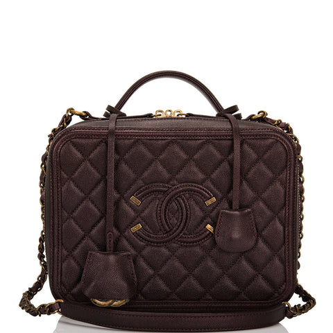 eae9ebeca67407 Chanel Burgundy Iridescent Caviar Large Filigree Vanity Case