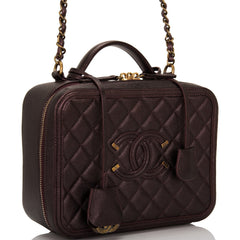Chanel Burgundy Iridescent Caviar Large Filigree Vanity Case