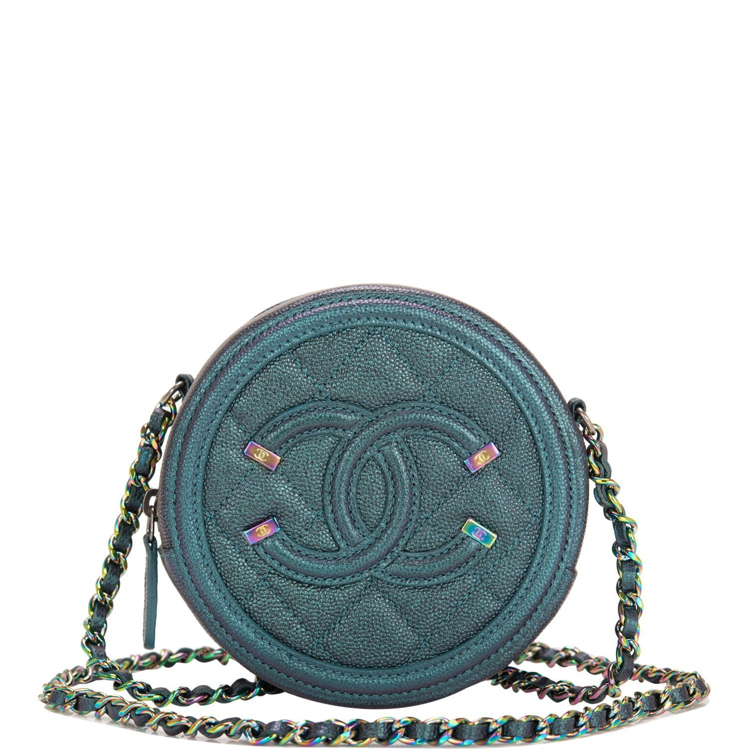 e748c34958fd28 Chanel Dark Turquoise Iridescent Caviar Round Mini Crossbody Bag – Madison  Avenue Couture