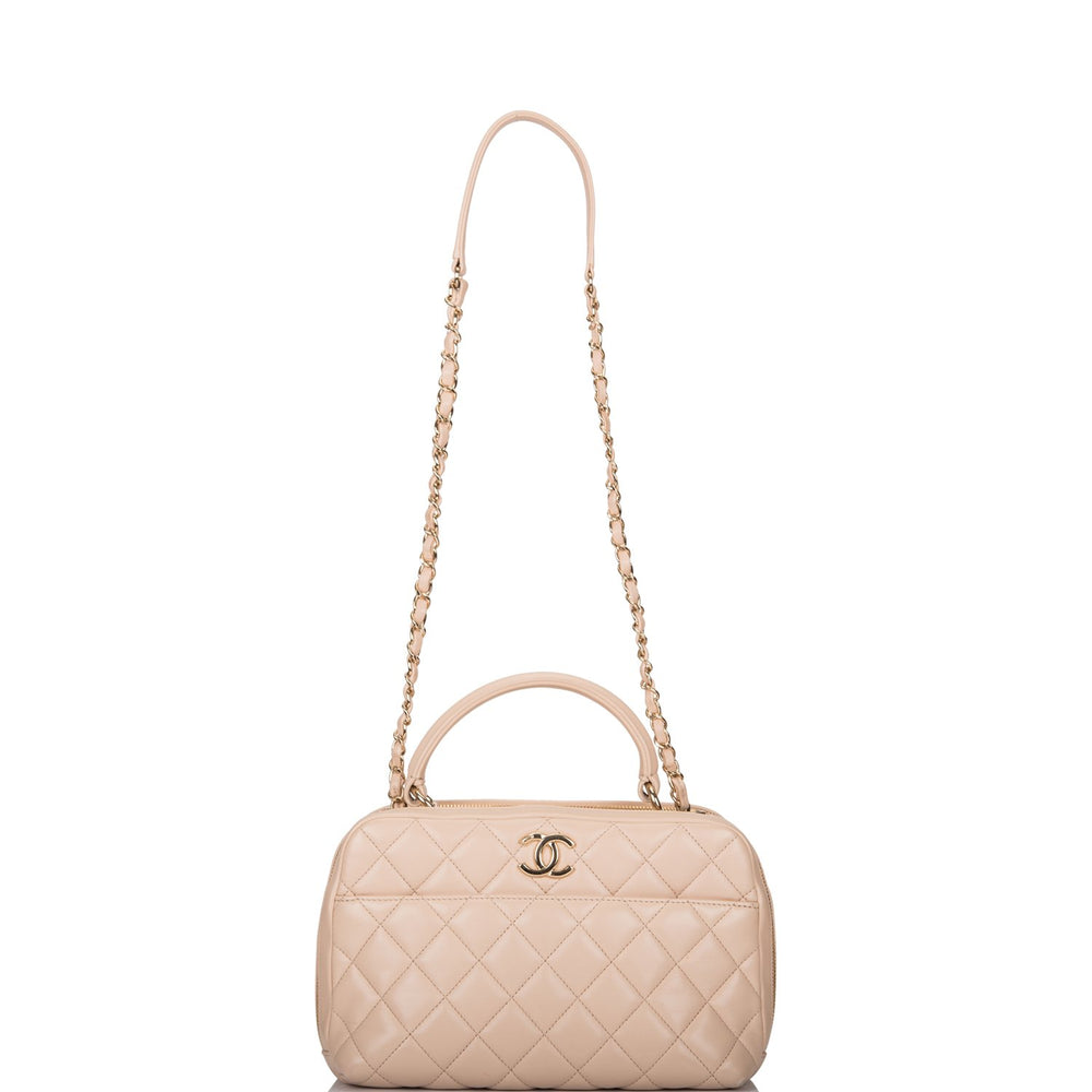 Chanel Beige Lambskin Trendy CC Bowling Bag (Preloved - Excellent)