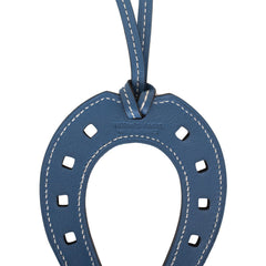 Hermes Paddock Bleu Agate Horseshoe Leather Bag Charm PM