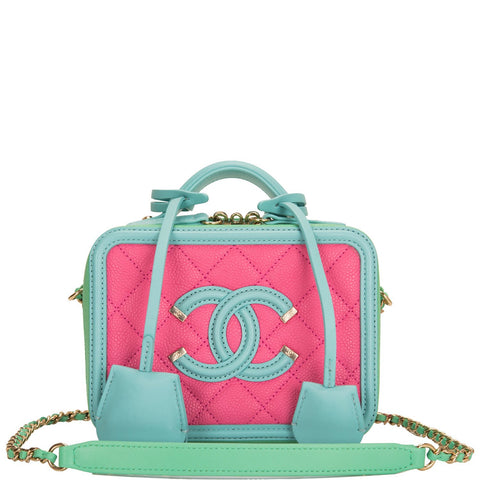 Chanel Pink, Green and Blue Caviar Small Filigree Vanity Case Bag Gold Hardware