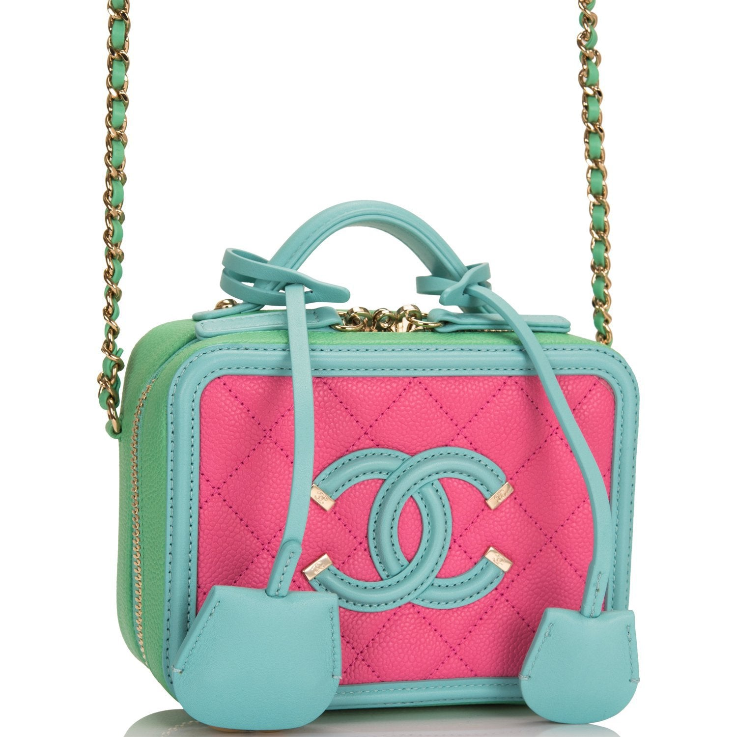 Chanel Pink, Green and Blue Caviar Mini Filigree Vanity Case Bag
