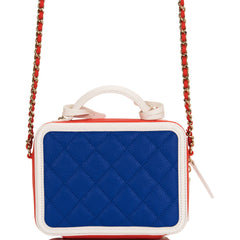 Chanel Dark Blue, White and Red Caviar Mini Filigree Vanity Case Bag