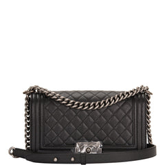 Chanel Black Quilted Caviar Medium Boy Bag