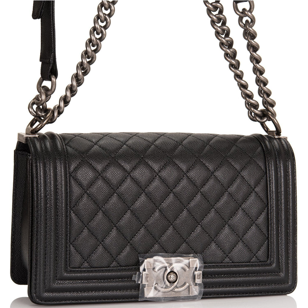 Chanel Black Quilted Caviar Medium Boy Bag Ruthenium Hardware