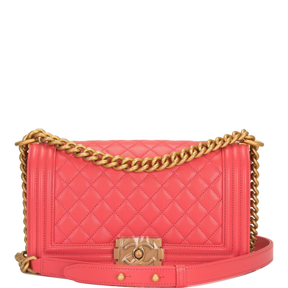 Chanel Coral Pink Quilted Caviar Medium Boy Bag Antique Gold Hardware