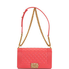 Chanel Coral Pink Quilted Caviar Medium Boy Bag