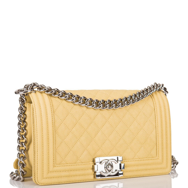 99a484578d71 Chanel Yellow Quilted Caviar Medium Boy Bag – Madison Avenue Couture