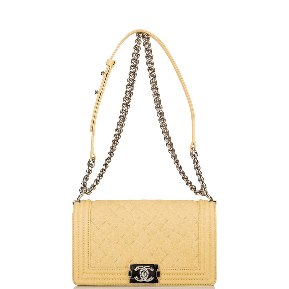 Chanel Yellow Quilted Caviar Medium Boy Bag