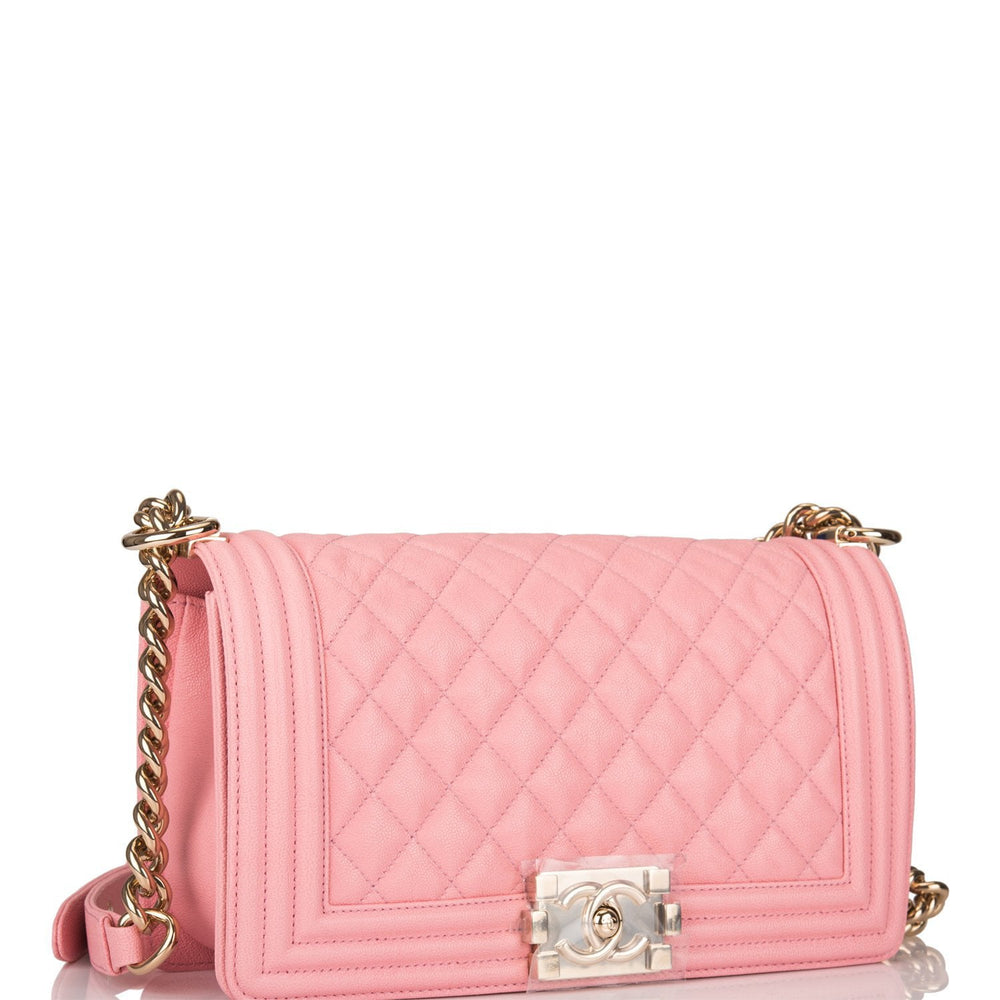 Chanel Pink Quilted Caviar Medium Boy Bag Light Gold Hardware