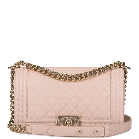 Chanel Nude Quilted Caviar Medium Boy Bag