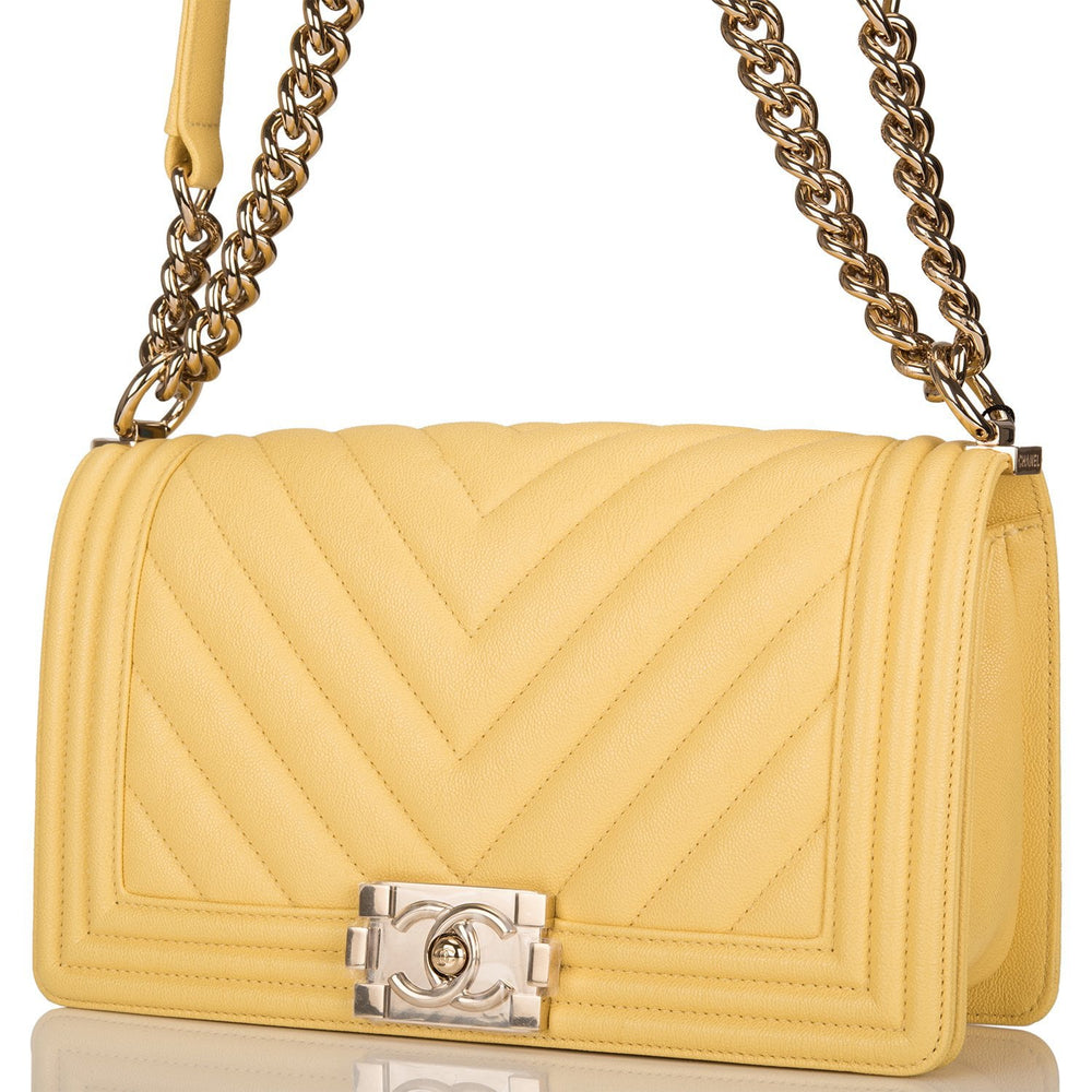 Chanel Yellow Chevron Caviar Medium Boy Bag Light Gold Hardware