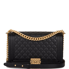 Chanel Black Quilted Caviar New Medium Boy Bag