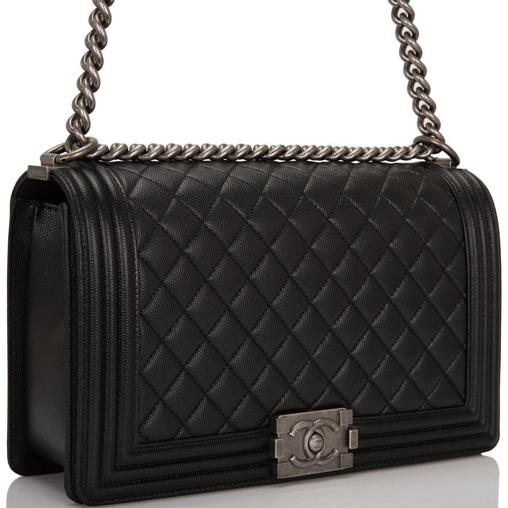 Chanel Black Quilted Caviar New Medium Boy Bag Ruthenium Hardware