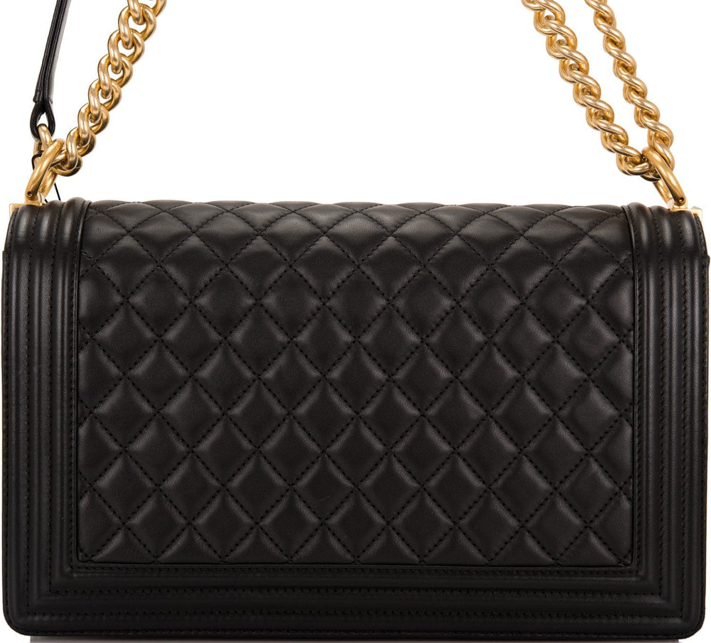 Chanel Black Quilted Lambskin New Medium Boy Bag