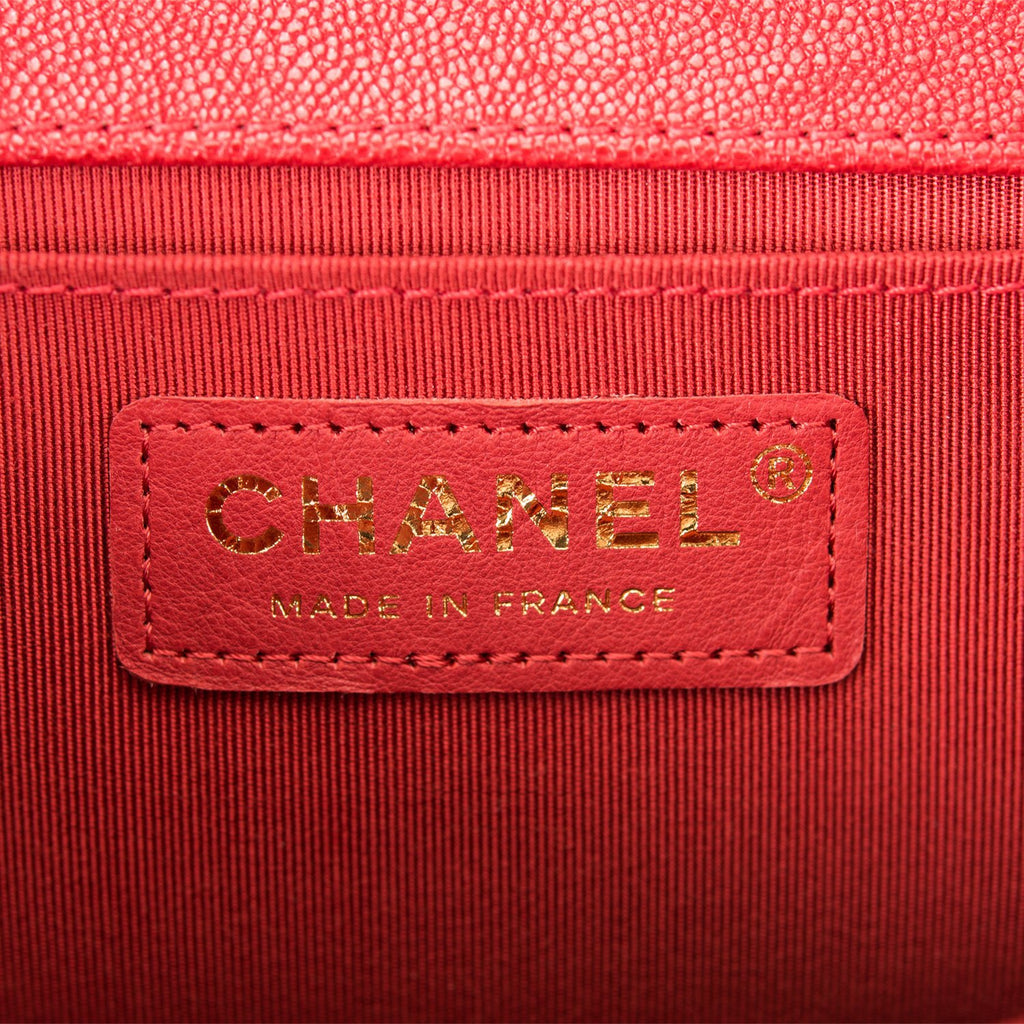 Chanel Red Quilted Caviar Medium Boy Bag Antique Gold Hardware